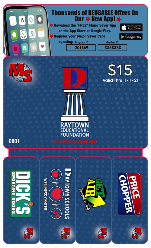 Front of the Major Saver card