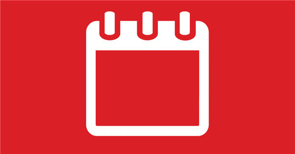 White calendar on red background